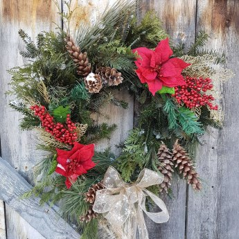 Christmas wreath with fresh greens